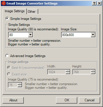 Email Image Converter Settings Dialog